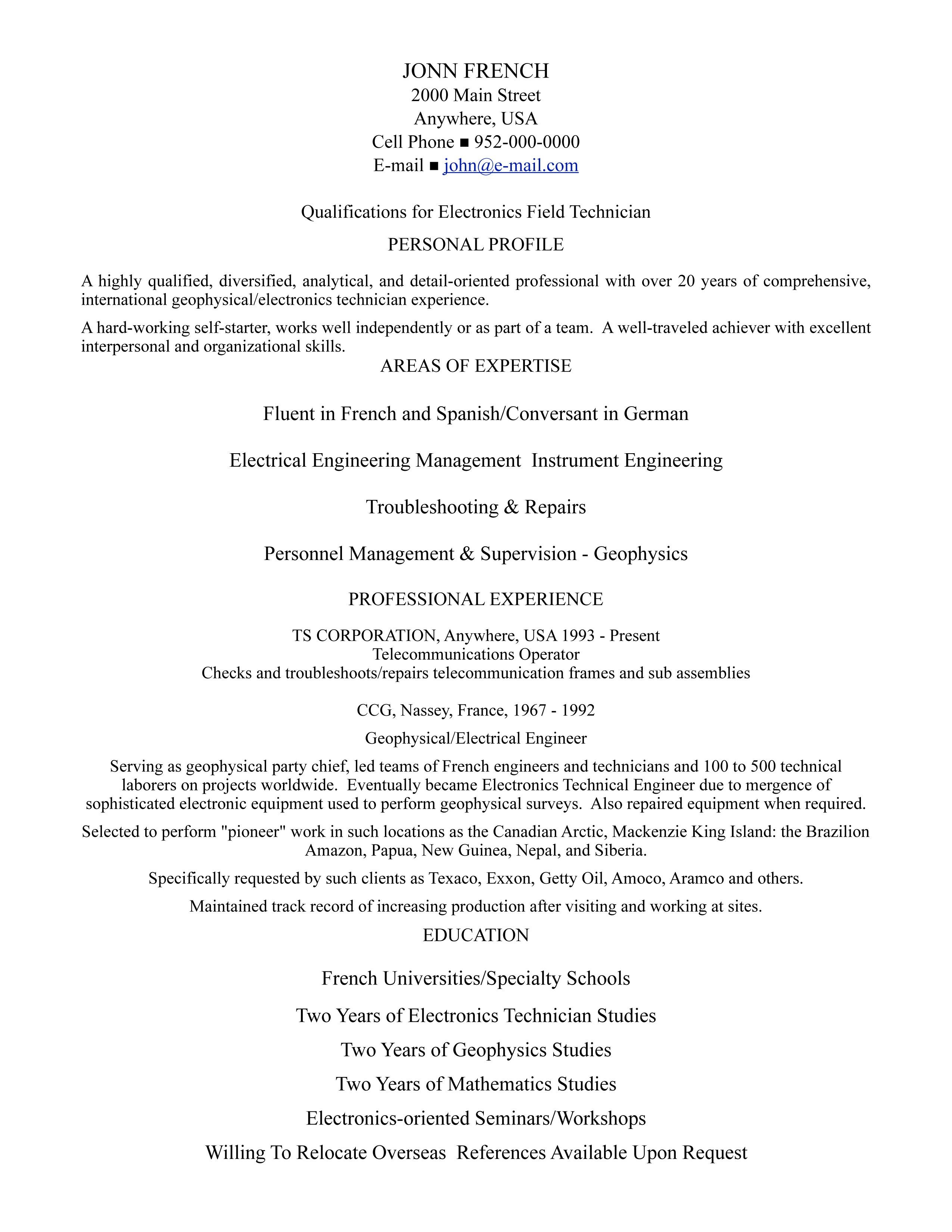 professional résumé writing samples